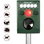Wikoo Solar Powered Ultrasonic Animal and Pests Repeller, Outdoor Weatherproof Repeller, Motion Activated with Flashing LED Light and Ultrasonic Sound to Repel Animal Away