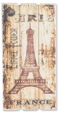 AVENUELAFAYETTE Cadre Tableau Bois Ville - Vintage rétro - 60 x 30 cm (Paris - Tour Eiffel- France)