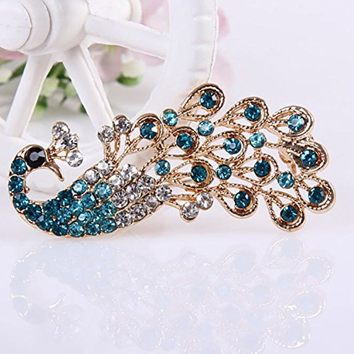 pengyu- Fashion Women Shiny Full Rhinestone Hollow Peacock Brooch Pin Wedding Jewelry Brooch Pin Peacock Blue