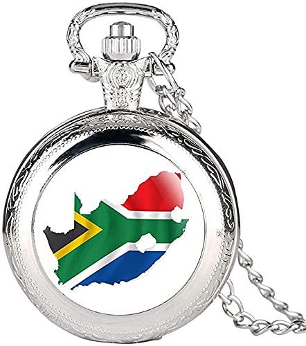 DNGDD Reloj de Bolsillo Reloj de Bolsillo de Cuarzo Plateado Vintage para Hombres, Relojes de Bolsillo con patrón de Mapa Creativo de Sudáfrica para Mujeres, Cadena de Reloj de Bolsillo de aleació