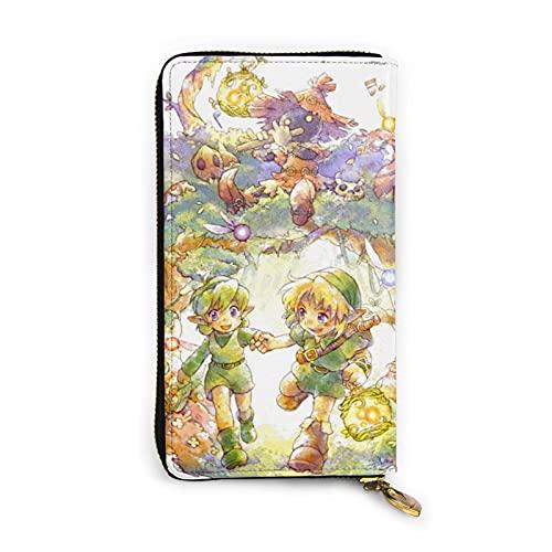 Legend of Zelda - Cartera de piel con cremallera para videojuegos y monedas, para teléfono móvil, tarjeta de crédito, moneda, para hombres y mujeres