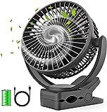 Portable Fan 5000mAh Rechargeable USB Desk Fan, Ultra Quiet Mini Clip Fan, Desk Mini Fan for Camping Home Office Travel Indoor Outdoor (Black)