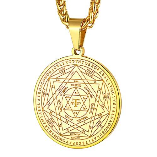 FaithHeart Signos Llave Salomón Collares Elegantes Dorados para Cuello Colgantes Pequeños con Cadena Delgada Joyería de Protección