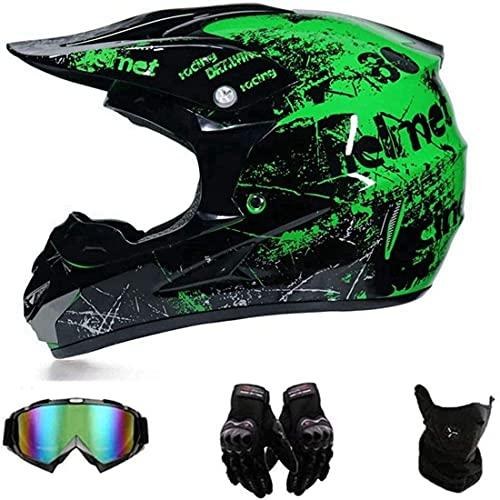 HHDL Motocross Helmet/Motorrad Crosshelm,Motorradhelm,Motocross Helm,Helm Kinder,Helmets Kinder-Cross-Helm,Handschuhe, Schutzbrille, Schutzmaske, 4-teiliges Set (M(54-55CM))