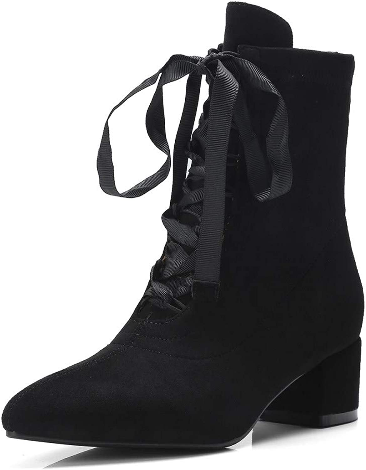 Nine Seven Suede Leather Pointed Toe Low Chunky Heel Handmade Casual Back Zipper Lace Up Dress Mid Calf Boots