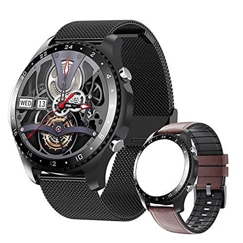 FMSBSC Reloj Inteligente Hombre Smartwatch - Medidor de Temperatura Corporal,Llamadas Bluetooth, Pulsómetros, Monitor de SpO2, Ritmo Cardíaco, Pulsera Actividad Inteligente para Android iOS,Black a