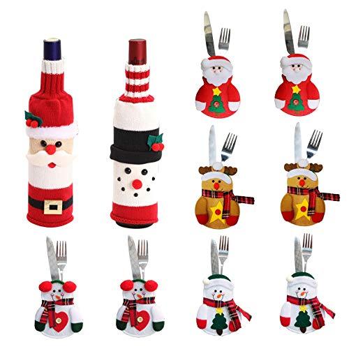 N&P Bolsita para Cubiertos Navidad con Bolsa Botella Vino Navideña Adorno Mesa Sostener Cuchillo Tenedor Cuchara Papa Noel Renos Muñeco de Nieve para Decoración Casa 10 Unidads