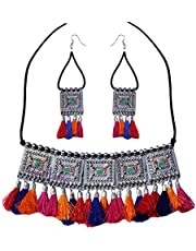YouBella Fashion Jewellery Antique German Silver Oxidised Plated Tribal Cotton Thread Jewellery Necklace Earring Set for Women & Girls.(Valentine Gift Special). (Multi)