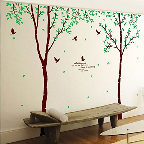 """Amaonm 106"""" x 110"""" Giant Huge Large Brown Birch Tree & Green Leaves Branches Black Birds Wall Decals Removable Art Decor Wall Stickers Murals for Kids Girls Bedroom Living Room TV Sofa Background"""