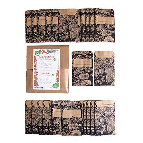 Samentütchen, Flachbeutel, Mini-Geschenktüte zum Selbstbefüllen und Beschriften für eigenes geerntetes Saatgut, Geschenke, Globuli - 25 Stück aus braunem, bedrucktem Packpapier