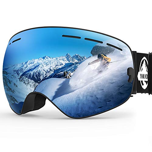 YAKAON Ski Snowboard Snow Goggles with UV Protection Anti-Fog Spherical OTG Anti-Slip Strap for Men Women