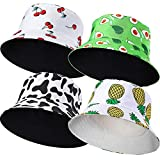 4 Pieces Summer Bucket Hats Fruit Printed Sun Protection Hats Double-Side-Wear Reversible Fisherman Cap Cherry Pineapple Cow Beach Hats for Women Teens Girls