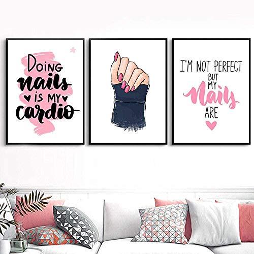 THRONI Leinwand Bilder Rosa Make-up Wandkunst Leinwand Malerei Nail Art Poster und Drucke Nägel Kunst Zitat Mädchen Schlafzimmer 3 Stück Wandbild Home Decor Größe 2