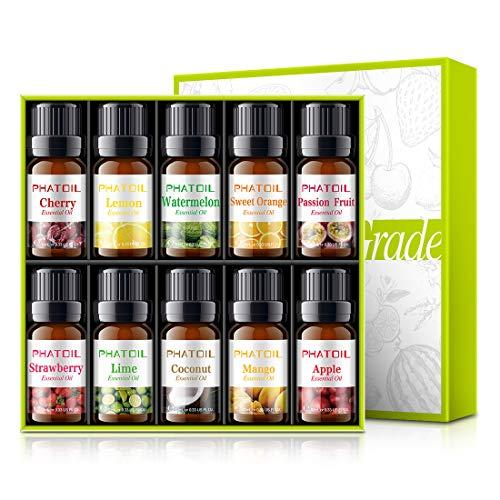 PHATOIL Fruity Fragrance Essential Oil Set 10 x 10 ml, Aromatherapy Premium Grade Oils Kit, Cherry,...