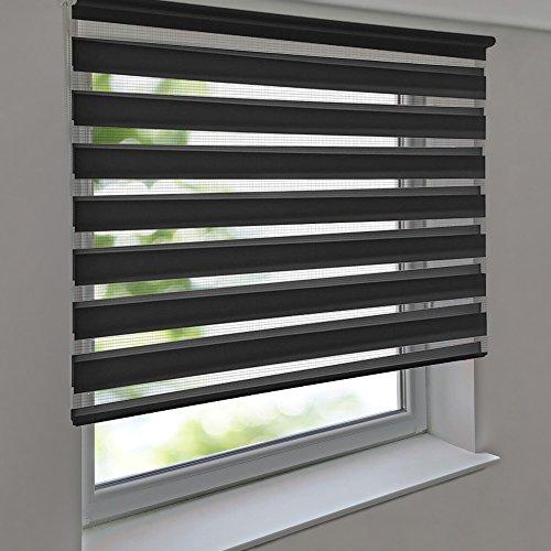 Doppelrollo PREMIUM 165 x 160 cm anthrazit zum Anschrauben freihängend für Wand- und Deckenmontage inkl. Metallträger