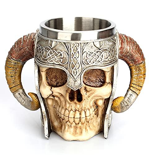 Taza de acero inoxidable con diseño de calavera 3D, taza de cerveza gótica, taza de café, té, copa de bebida, vaso medieval, vaso de vino, regalo para Halloween, Navidad, cumpleaños (taza de cráneo)