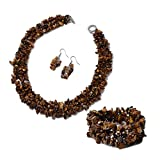 Shop LC Delivering Joy Yellow Tiger Eye Chips Bracelet Earrings Necklace Stainless Steel Fashion Prom Jewelry Sets for Women Size 6.5' 18'