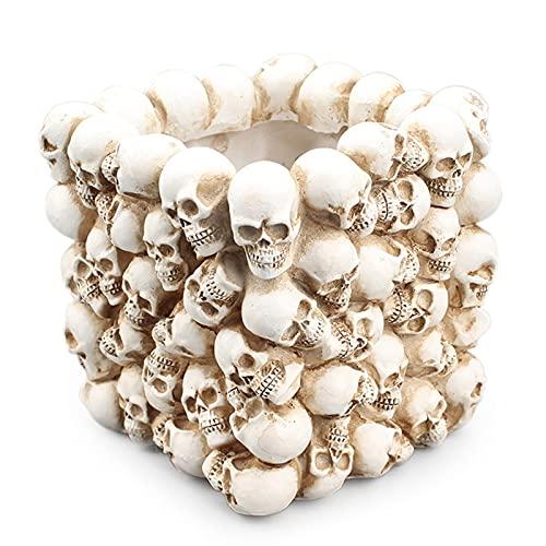 YKW Resina 3D Cráneo Caja de Almacenamiento Figurine Skeleton Maquillaje Pluma Titular de la Pluma Flower Pot Oficina Organizador Papelería Contenedor Flowerpot
