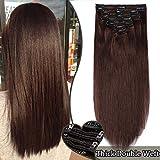 Extension a Clip Cheveux Naturel Maxi Volume - Double Weft Extensions de Cheveux Humains à Clips #4 CHATAIN (8 Bandes, 10 Pouces/25cm, 110g)