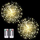 Dandelion Firework Lights 198 LED Starburst DIY Lights 8 Modes Battery Operated Fairy Lights with Remote ,Warm White Hanging Christmas Lights for Party Wedding Waterproof Decoration 2 Pack