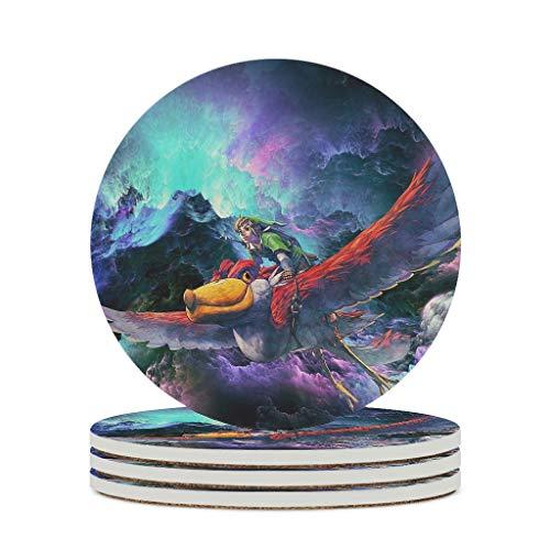 O5KFD&8 Posavasos de cerámica Zel-da de primera calidad personal para vasos divertidos – para el hogar, color blanco, 6 unidades