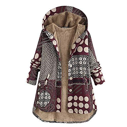 KaloryWee 2019 Winter neu Verdicken Patchwork Unregelmäßig Dot Knopf Wollmantel Damen Hoodie Jacke Outwear Casual mit Kapuze mit Tasche