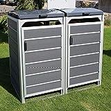 Prewood WPC Mlltonnenbox, Mlltonnenverkleidung fr 2x 240l Mlltonne grau // 86x152x127 cm (LxBxH) // Gertebox, Gartenbox & Mlltonneneinhausung