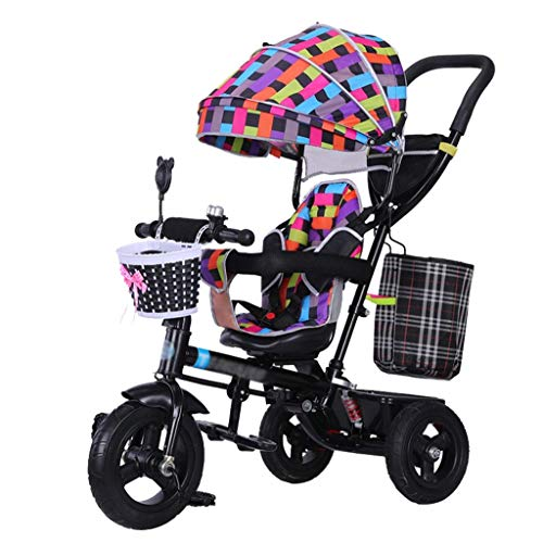 Save %53 Now! GFF Pushchair 4-in-1 Children Bike Kids' Tricycle Stroller Quick Fold Trike with Safet...