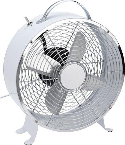 Witte retro tafelventilator. Volledig metaal, ventilatiesnelheid in 2 standen schakelbaar.