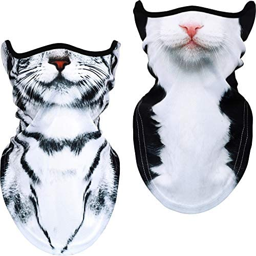 2 Pieces 3D Animal Print Balaclava Half Face Covers Windproof Neck Gaiters Cat Style product image
