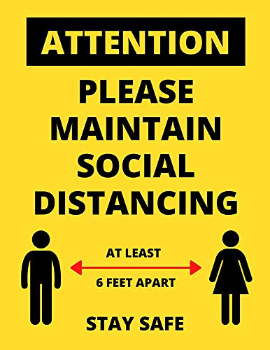 Social Distancing Sign 10 Pack -'Please Maintain Social Distancing' Poster - Highly Visible Health Wall or Door Signs Ideal for Office, Schools, and Stores