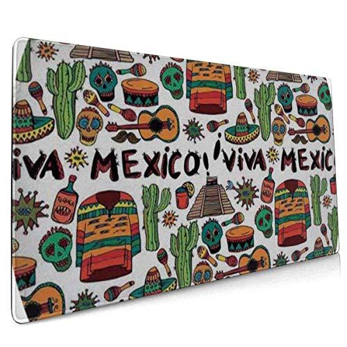 Multifunktions-Gaming-Mauspad, rutschfeste Gummibasis, Computertastatur-Mauspads für Büro und Spiele - Mexikanische Viva Mexico Native Elements Poncho Tequila Salsa Hot Peppers Multi