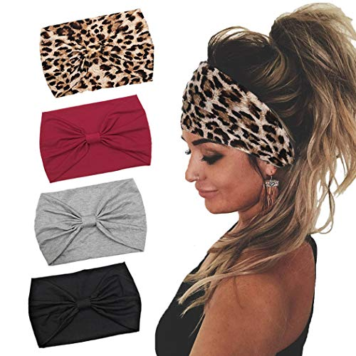 Gangel Boho Headbands Fabric Knotted Turban Head Wraps Wide Hair Scarf Cotton Yoga Running Hair Accessories for Women and Girls(Pack of 4)