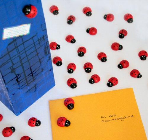 Geschenke mit Namen Selbstklebende Marienkäfer zum Dekorieren, 36 Stück, ca. 2,5 cm groß, selbstklebend