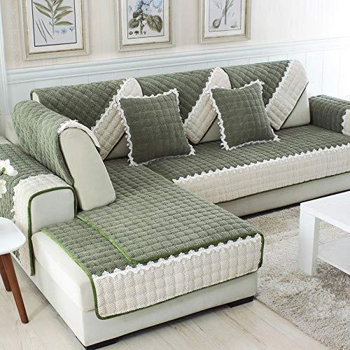 YUTJK Salón de sofá, Fundas de Asiento de sofá de Tela para Sala de Estar, Funda Protectora de Muebles, Funda de sofá de Pana Gruesa, para salón, Verde Oscuro