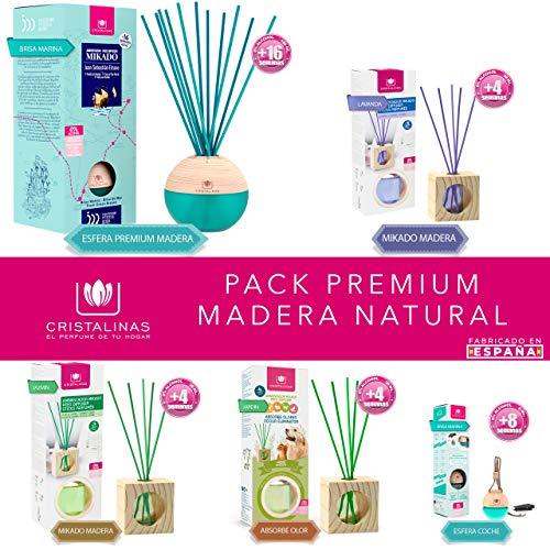 Pack Premium Madera Natural. Esfera Premium Mikado de 180ml + Mikado Madera Lavanda + Mikado Madera Jazmin + Mikado Absorbe Olor Jardin + Esfera Absorbe Olor Brisa Marina para Coche.