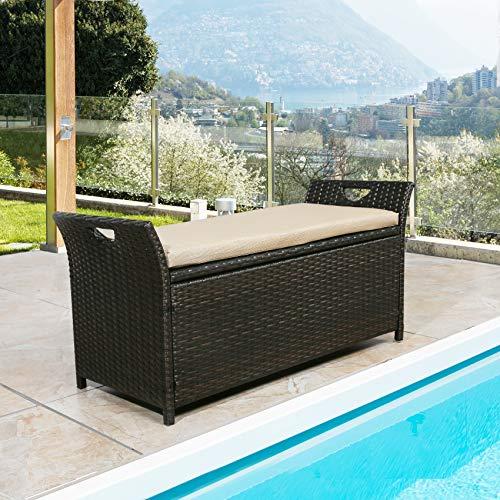 Patio Wicker Storage Bench Outdoor Rattan Deck Storage Box with Cushion (Beige)