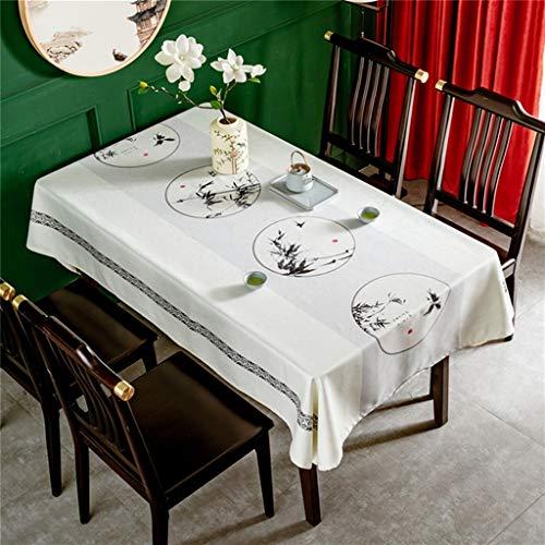 Mantel de arte de tela de algodón y lino de estilo chino, mesa de comedor de estilo chino, mesa de té, mantel de mesa de café, adecuado para decoración del hogar, cocina de mesa de jardín, cena de fie