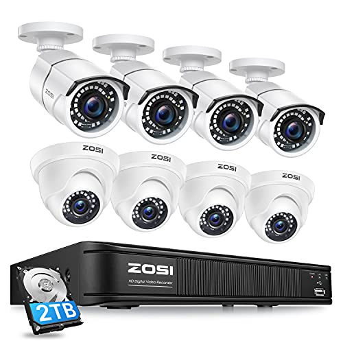 ZOSI 5MP Lite H.265+ Home Security Camera System, 8 Channel CCTV DVR Recorder with Hard Drive 2TB and 8 x 1080P(2.0MP) Surveillance Bullet Dome Camera Outdoor Indoor, Remote Access, Motion Detection