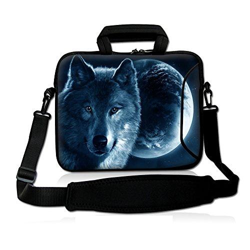 iColor 15' Laptop Shoulder Bag 14.1' 14.2' 15.6' Inch Neoprene Laptop Messenger Bag 15.4' Notebook Computer Dual Zipper Case Cover Pouch Holder Pocket -Wolf