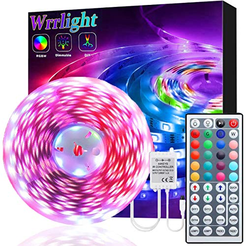 Led Strip Lights, Waterproof 16.4ft 5m Flexible Led Lights Color Changing RGB SMD 5050 150leds LED Strip Light Kit with 44 Keys IR Remote Controller and 12V Power Supply for Home, Bedroom, Kitchen