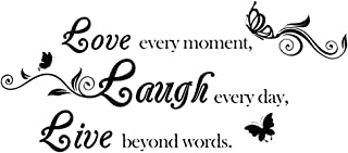 AUHOKY Love Every Moment Laugh Every Day Live Beyond Words Wall Decal Sticker Quotes, Removable DIY Saying Wallpaper Home Decor for Living Room Bedroom – Butterfly Mural Art Words (31×15inch, Black)