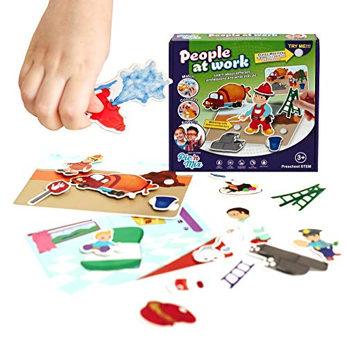 Picnmix Games for 3 Year olds. People at Work Pretend Play Preschool Learning Toddler Matching Puzzle. Doctor, Policeman, Fireman Inside. Montessori Kids Board Games 3-6 Activity. 32 Plastic Cards