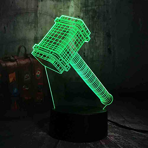 New Novelty Cool Big Thor Hammer 3D 7 Color Change Night Light Table Multicolor Remote Desk Lamp Kids Birthday Christmas Gift