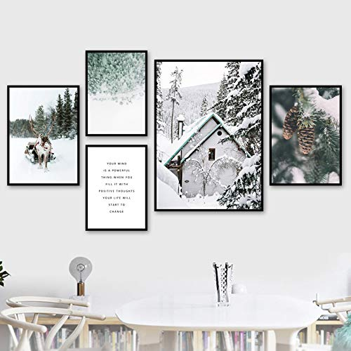 WIOIW Ciervo nórdico Elk Pino Casa de Madera Bosque Árbol Nieve Invierno Paisaje Blanco Lienzo Pintura Arte de la Pared Póster Impresiones Dormitorio Sala de Estar Oficina Decoración del hogar