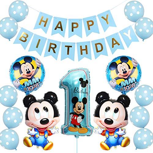 Mickey Globo Decoraciones de cumpleaños, Mickey Cumpleaños 1 año Themed Decoraciones de Fiesta Mickey Party Globos de Látex Azul Happy Birthday Banner para Niños Fiestas(Azul)