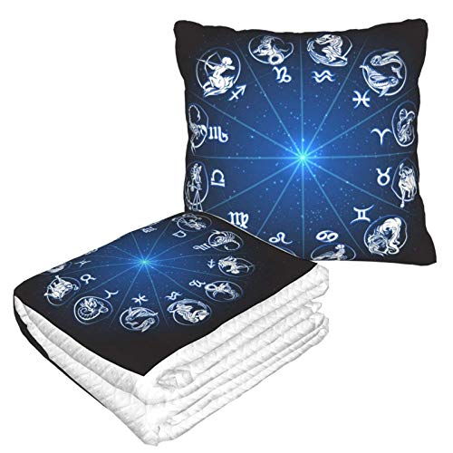 Manta suave 2 en 1 con diseño del zodiaco Sun Icon Manta de forro polar, manta para sala de estar, sofá, oficina, para hombres y niños