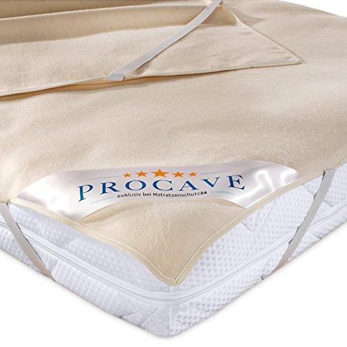 PROCAVE Matratzen-Auflage aus 100% Baumwolle, Natur-Matratzenschoner atmungsaktiv, hochwertige Moltonauflage als Matratzenschutz, Premium Qualität Made in Germany 100x210 cm