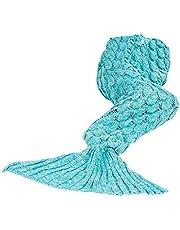 マーメイドブランケット 子供用 人魚毛布 可愛い ひざ掛け 着れる毛布 お昼寝 人魚姫に変身 冷房対策 柔らかい 暖かい 防寒毛布 ブルー