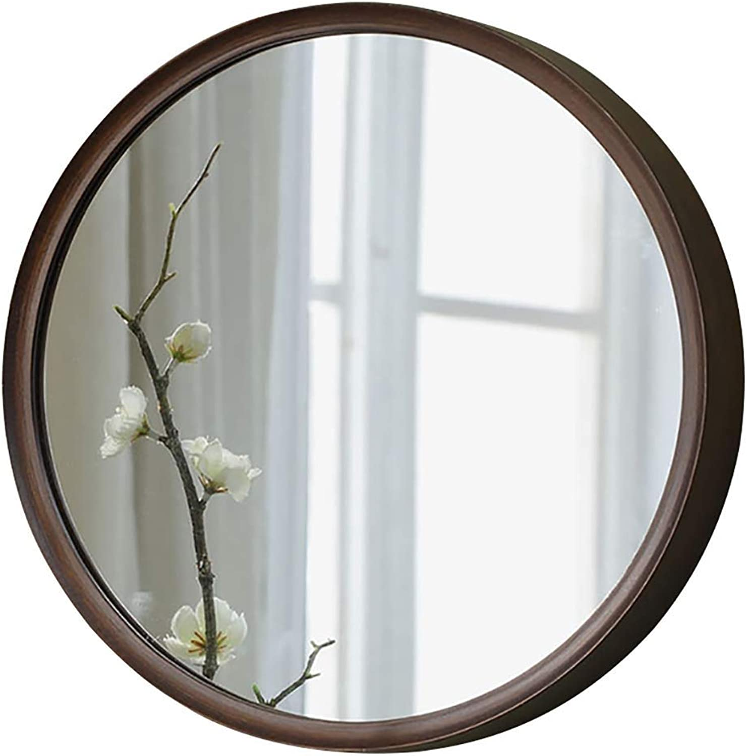 SDK Round Combination wall mirror Bathroom Mirror with Wooden Mirror Frame   Premium Silver Backed Glass Panel Vanity, Bedroom or Bathroom Decoration (Size   28cm)